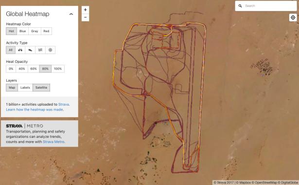 Avec leurs montres connectés les militaires joggeurs en dévoilent trop, comme ici au nord du Niger où se dessine parfaitement les infrastructures et même la piste du camp français de l'opération Barkhane