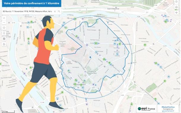 Confinement Covid-19 : une application pour voir sur une carte la zone de permission de 1 kilomètre autour de son domicile