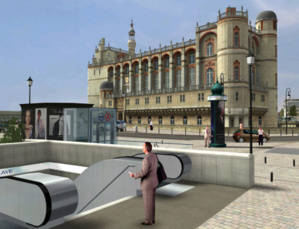 La maquette 3D a servi à apprécier le projet de gare multimodale dans la perspective du château de Saint-Germain en Laye