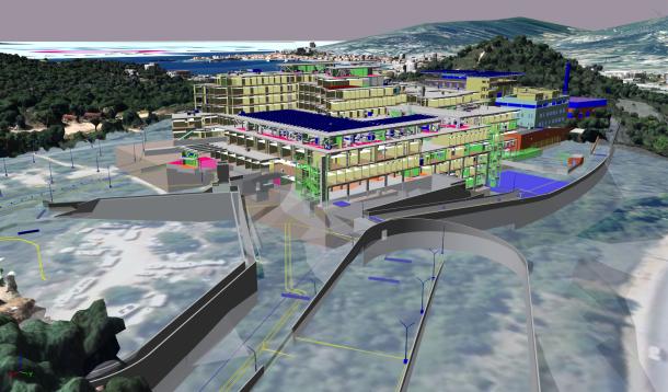 La construction entièrement BIM du nouvel hôpital d'Ajaccio dépasse les murs du bâtiment par un BIM multi-échelles relié au «BIM urbain» d'une maquette numérique de la ville. © CSTB