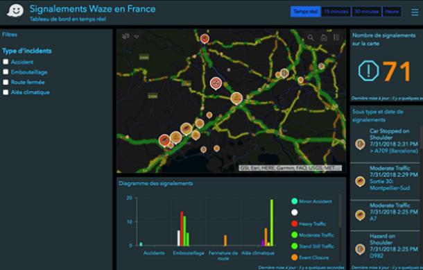 Les alertes Waze en live dans ArcGIS