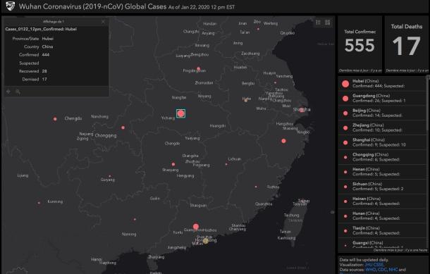 Coronavirus 2019-nCoV : une carte pour suivre la propagation du virus