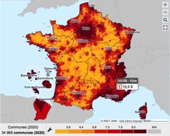 Une carte présente le prix au m2 des loyers pour un appartement ou une maison dans chaque commune en France