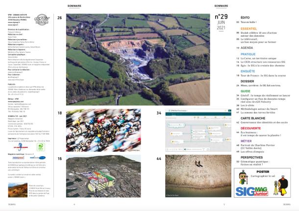 Dossier mines et carrières, Tour de France, Egis, Territoire de Corse, CICR, ArcGIS Velocity... Découvrez le sommaire du nouveau SIGMAG