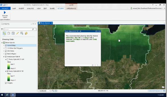 Analyser où est le meilleur endroit des États-Unis pour planter du maïs selon des multiples critères : GeoAnalytics réussi le test en moins de 10 minutes.