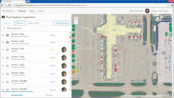 Workforce for ArcGIS en version dispatcher de Workforce dans un aéroport