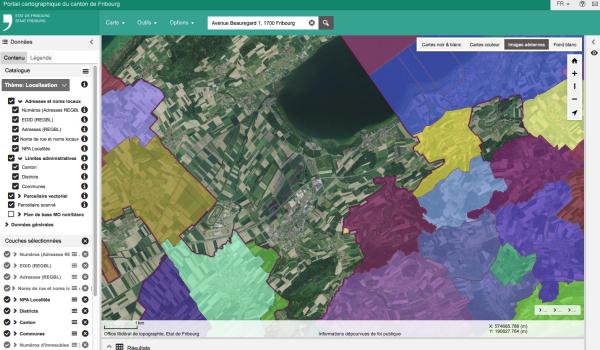 Le nouveau portail cartographique du canton de Fribourg, map.geo.fr.ch contient environ 150 géodonnées vectorielles réparties dans 13 thèmes. Il illustre aussi le problème de la continuité des géodonnées sur un territoire très morcelé.