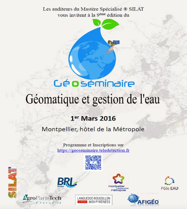 GéoSéminaire «Géomatique et gestion de l'eau» : dernier jour pour vous inscrire !