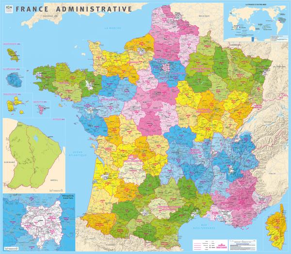 L'IGN édite la nouvelle carte de la France administrative et calcule les centres géographiques de chaque département